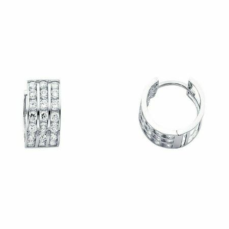 14k White Gold 7mm Thickness CZ Channel Set Hoop Huggie Earrings (15 mm x 15