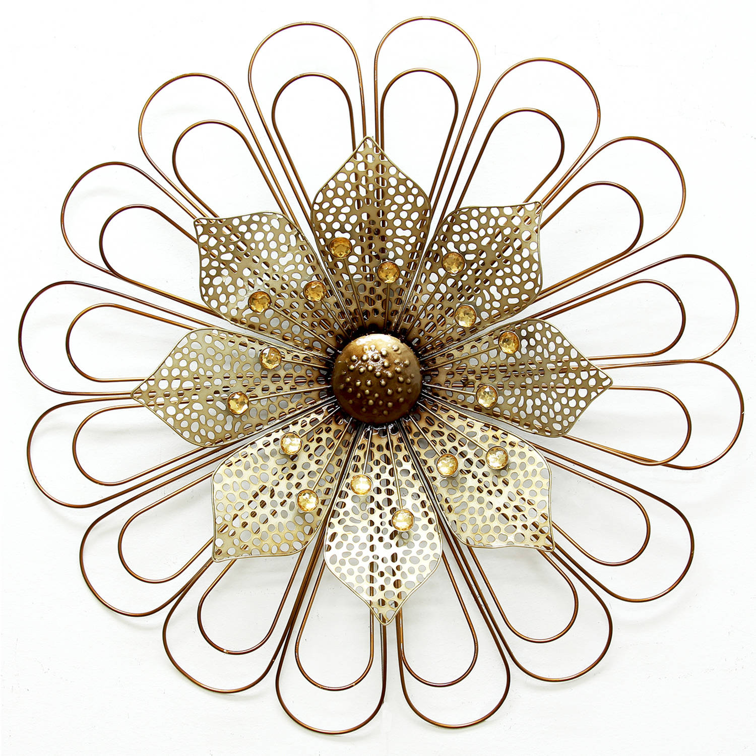 Stratton Home Decor Champagne Wire Flower Wall Decor