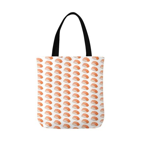 ASHLEIGH Salmon Sushi Funny Food Washable Canvas Tote Bag Resuable Grocery Bags Shopping Bags Canvas Tote Bag Perfect for Crafting