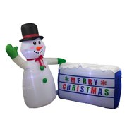 ALEKO Inflatable LED Waving Snowman for Yard with Merry Christmas Sign - 6 Foot