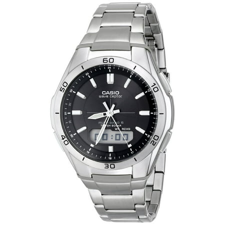 Solar Wave Watch (Men's Waveceptor Solar Atomic Ana-Digi Watch, Silver)