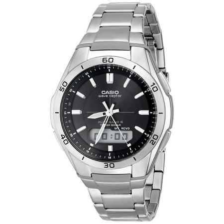 Men's Waveceptor Solar Atomic Ana-Digi Watch, Silver (Solar Casio Watches For Men)
