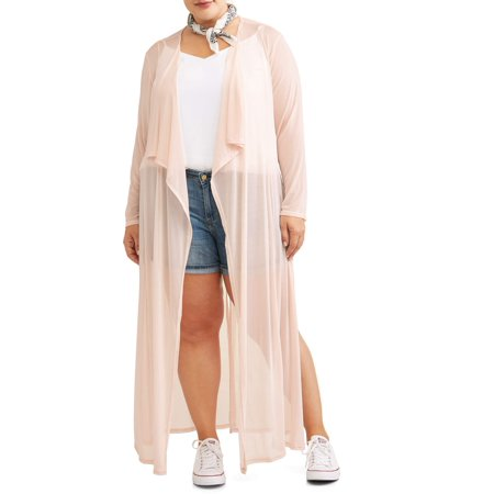 Mesh Kimono - Miss Lili Juniors' Plus Kimono with Mesh Belt