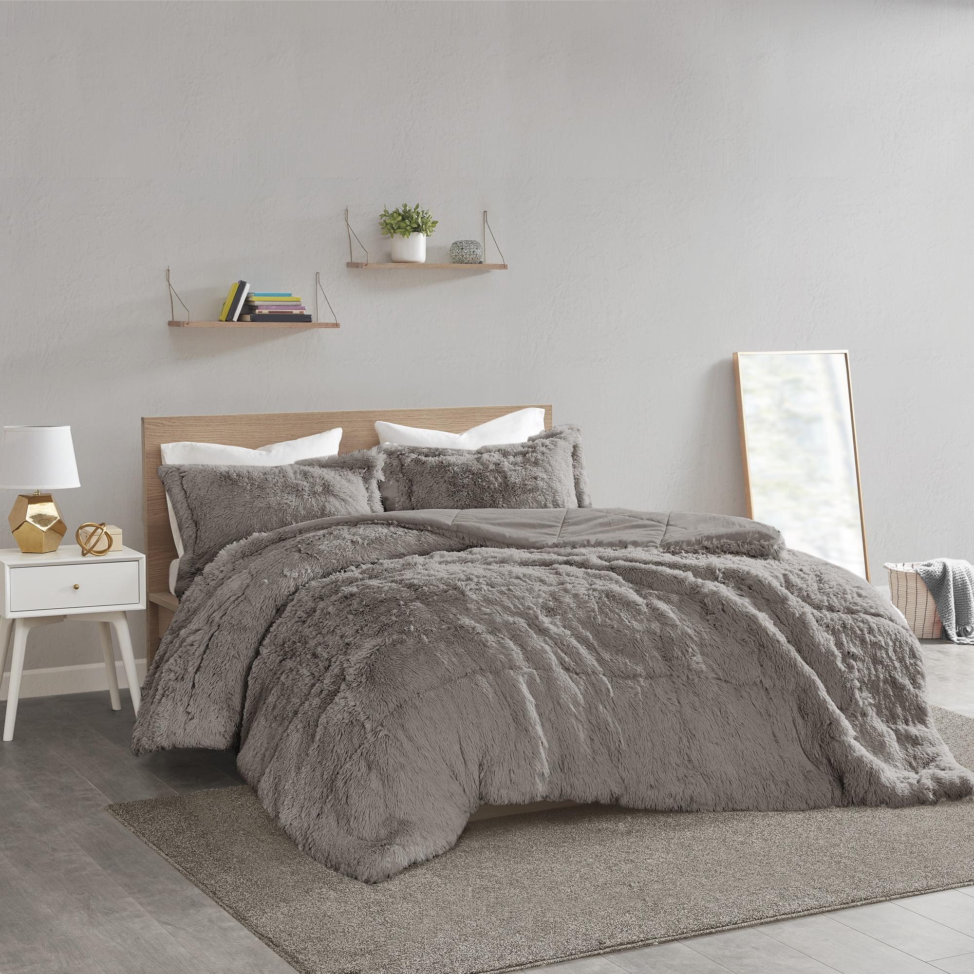 Home Essence Apartment Leena Shaggy Faux Fur Comforter Set, Full/Queen, Grey