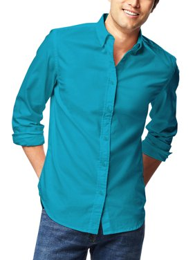 Ma Croix Mens Premium Dress Shirt Button Down Long Sleeve Collar Solid Casual Slim Fit