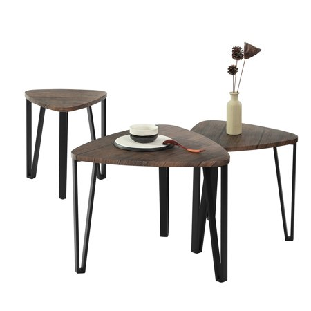 Furniture R Side Table Set of 3,Three Various Size Triangle End Coffee Tables for Living Room Office Décor - image 2 of 8