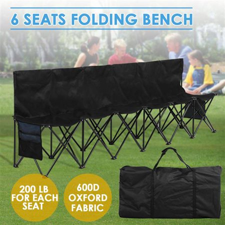 Portable 6 Seats Sport Sideline Folding Bench Soccer Team Bench with Carry Bag, 600D Oxford Double Layer Fabric, Black