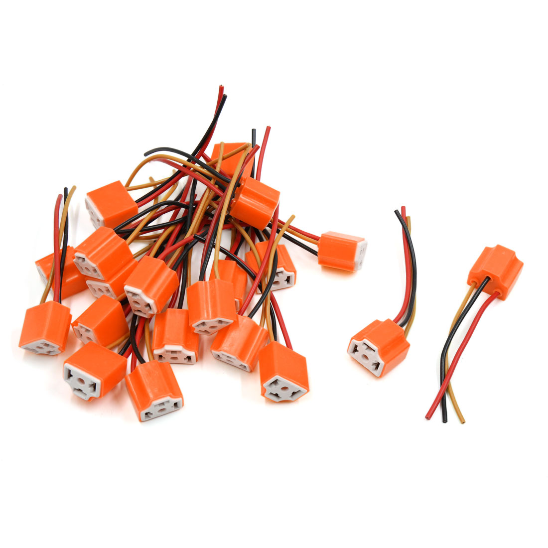 20pcs Orange Ceramic H4 Light Extension Wiring Harness Socket Connector for Car