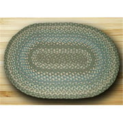 Earth Rugs 02-419 Oval Shaped Rug, Sage, Ivory and Settlers Blue