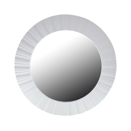 """20"""" Simply Elegant White Fluted Frame Round Wall Mirror"""