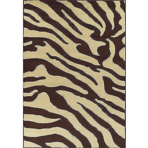 Carlisle Collection Zebra Area Rug, Brown and Beige