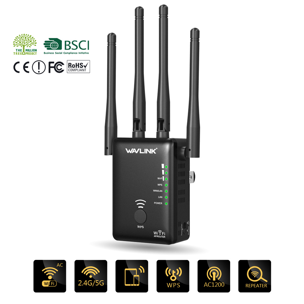 Wavlink AC1200 Dual Band WiFi Extender / Wi-Fi Range Extender / Access Point/ WiFi Signal Booster with 2 Ethernet Port / 4 High Gain External Antenna - Extends WiFi to Smart Home & Alexa Devices