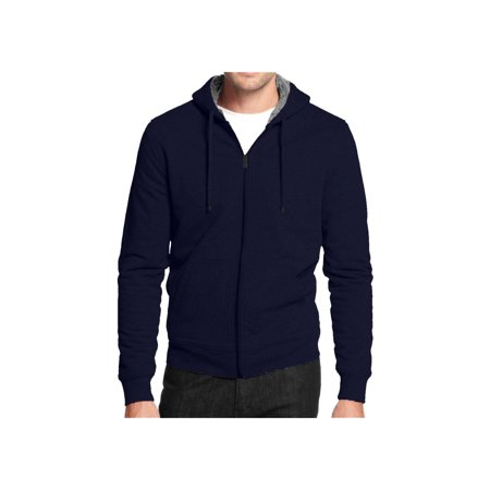 Men's Hoodie Zip Up Jacket Sherpa Lined Fleece & Quilted Sleeves ()