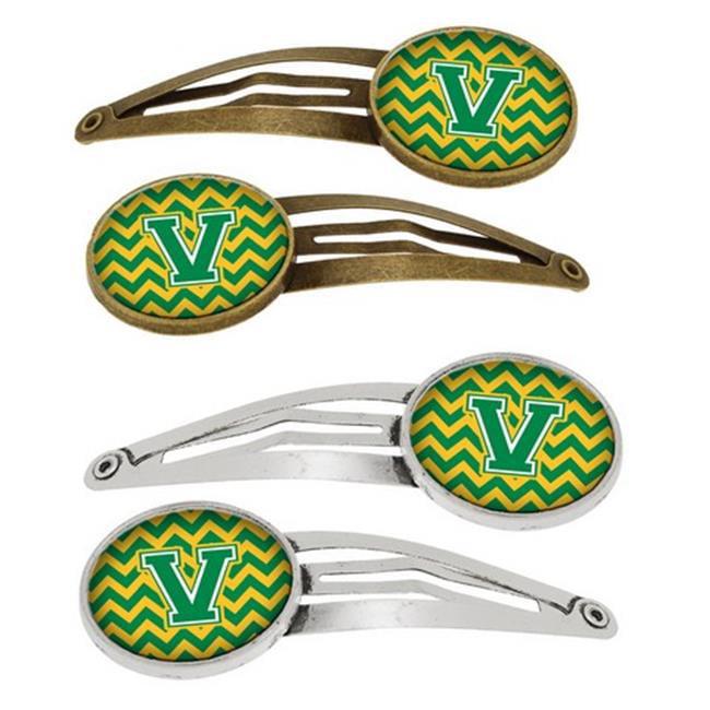 Letter V Chevron Green & Gold Barrettes Hair Clips, Set of 4