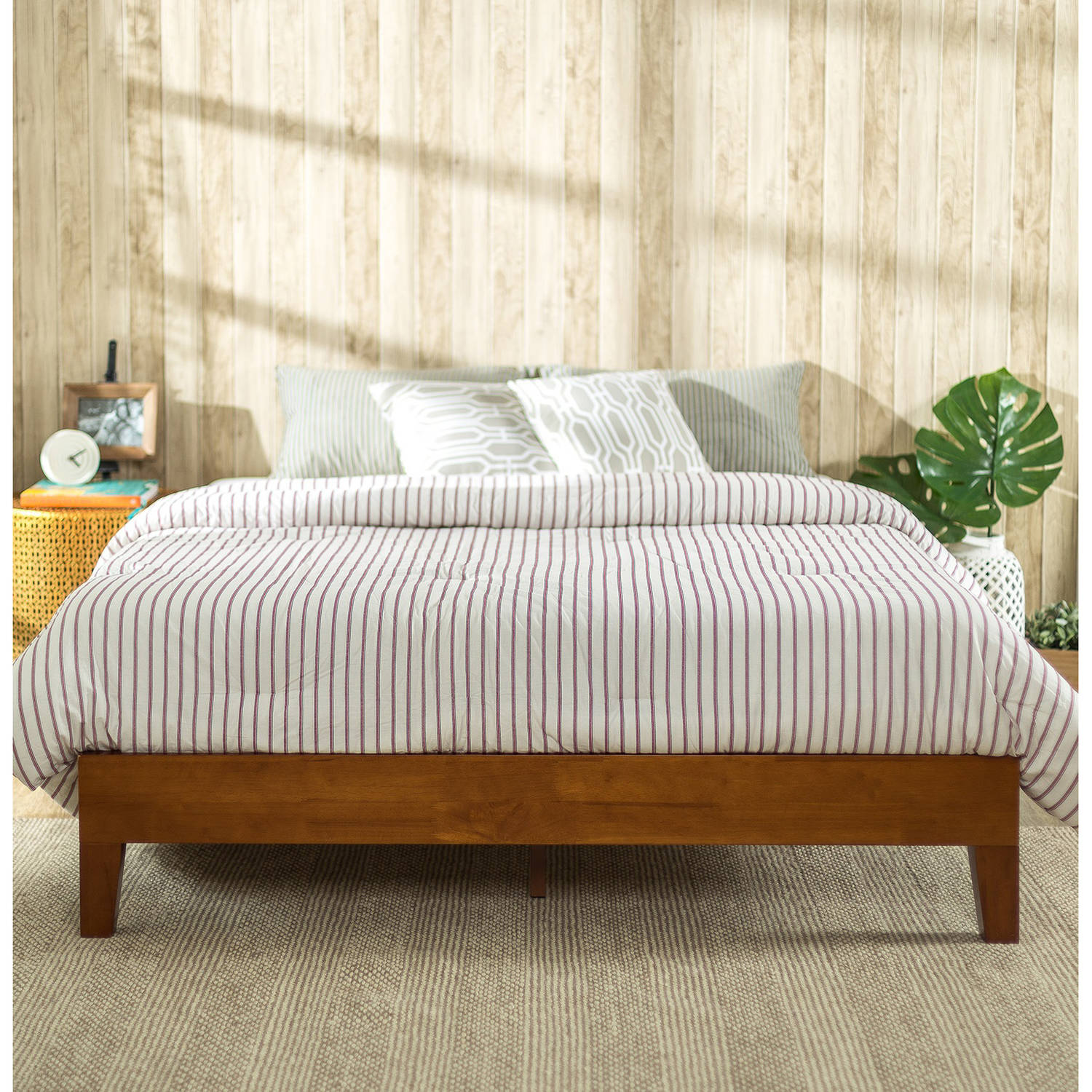 zinus deluxe solid wood platform bed cherry