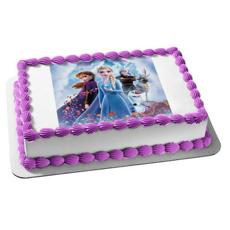 Frozen Themed Birthday Cake (Frozen Elsa Anna Edible Image Photo Cake Topper Sheet 1/4)