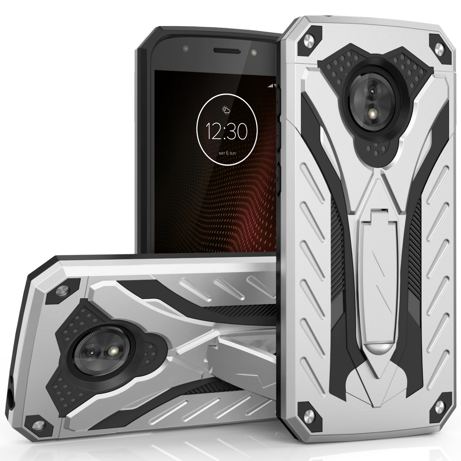 Zizo STATIC Series compatible with Motorola moto e5 Cruise Case Military Grade Drop Tested with Built in Kickstand moto e5 Play Case