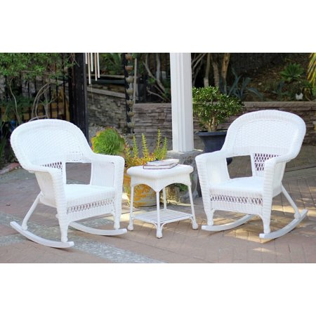 3-Piece Ariel White Resin Wicker Patio Rocker Chairs and Table Furniture Set ()