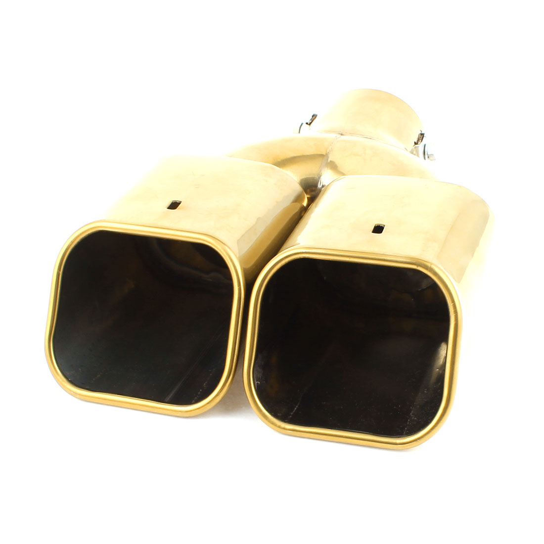 """2.4"""" Inlet Dia Double Square Outlets Tail Exhaust Pipe Muffler Tip Gold Tone"""