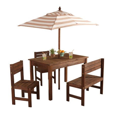Awesome Kidkraft Wooden Outdoor Childrens Patio Set With Table 2 Chairs And Beige And White Striped Fabric Umbrella Caraccident5 Cool Chair Designs And Ideas Caraccident5Info