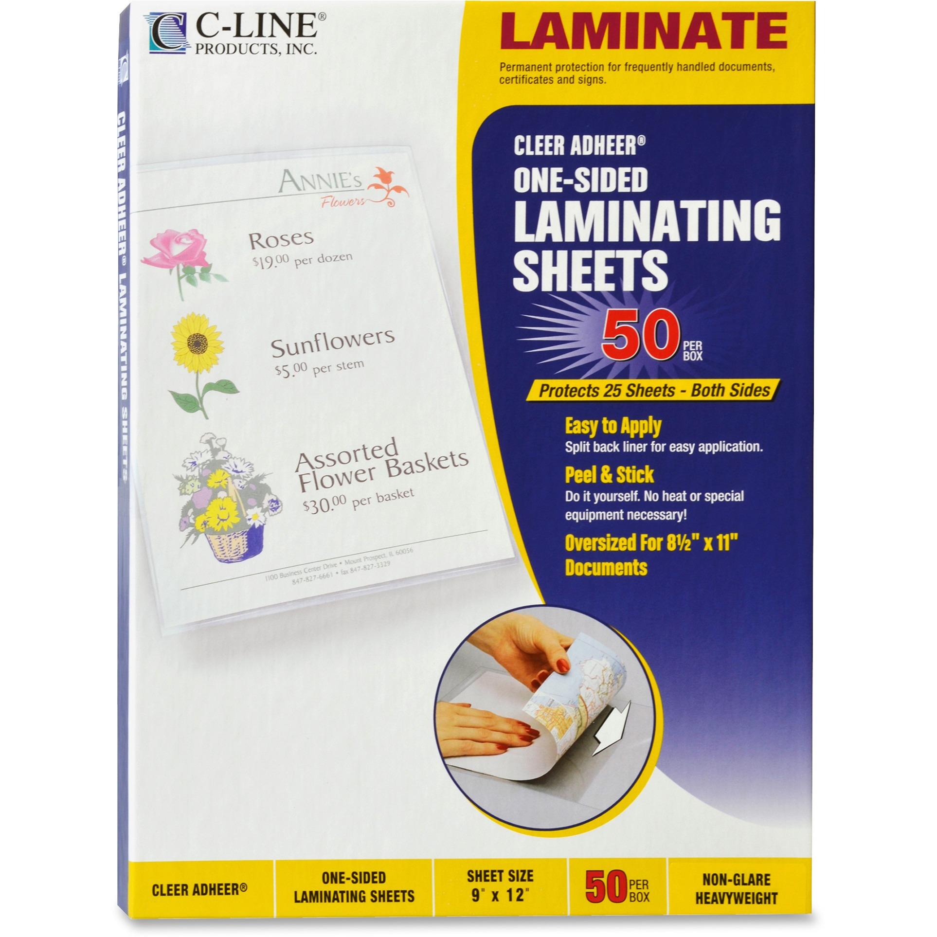 """C-Line Cleer Adheer Self-Adhesive Laminating Film, 2 mil, 9"""" x 12"""", 50/Box"""