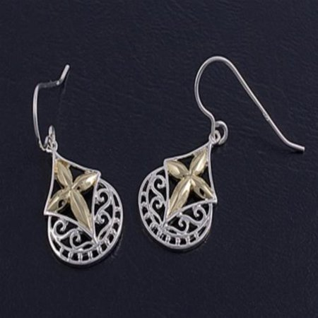 Designer Style Filigree Cross Earrings Sterling Silver Style Cross Earrings