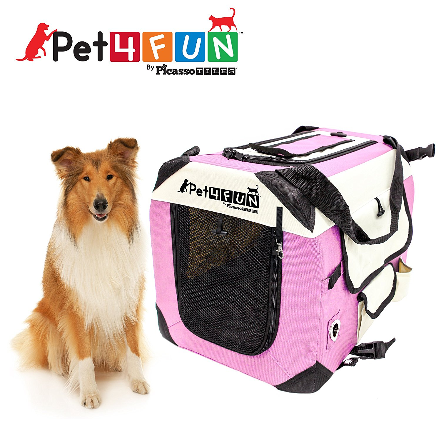 Pet4Fun PN952 Foldable Travel Crate Pet Carrier for Cat or Dog (Large) PINK