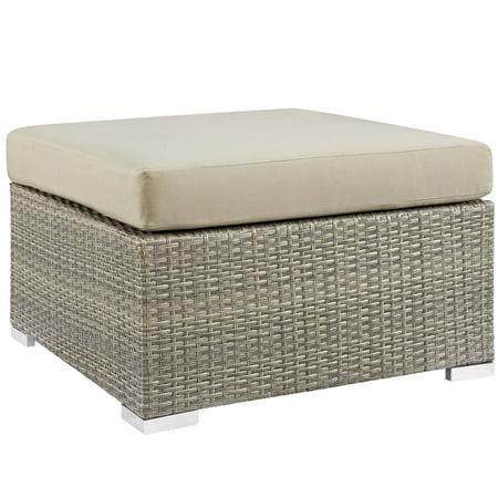 Modern Contemporary Urban Design Outdoor Patio Balcony Garden Furniture Lounge Chair Ottoman, Sunbrella Rattan Wicker, Light Gray Beige ()