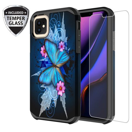 Protective Phone Cover Case For Apple iPhone 11 Pro Max Case with [Tempered Glass Screen Protector] Cute Girls Women Dual Layer Heavy Duty - Blue Butterfly Pro Cue Cases