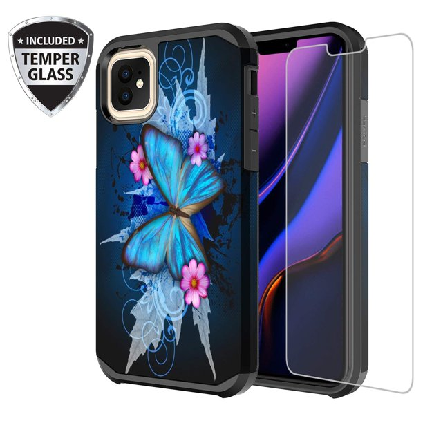 Iphone 11 Case Cute Girls Women W Tempered Glass Screen Protector Heavy Duty Protective Phone Cover Case For Nbsp Apple Iphone 11 Blue Butterfly Walmart Com Walmart Com