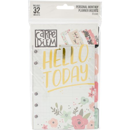 Carpe Diem Bloom Double-Sided Personal Planner Inserts Monthly,