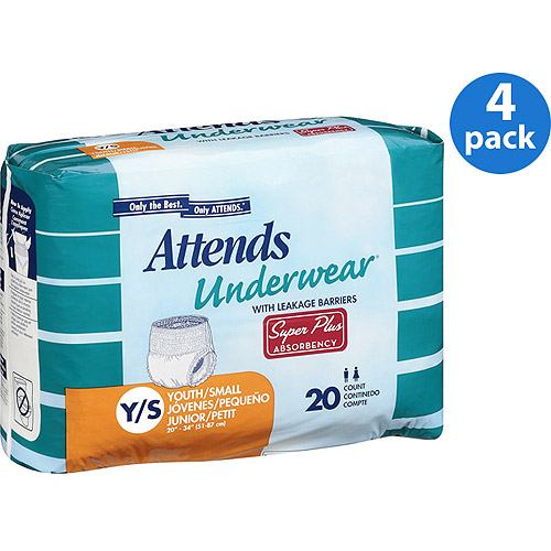 (4 Pack) Attends Advanced Adult Incontinence Underwear, Youth/Small, Unisex with Advanced DermaDry Technology™ (20 count)