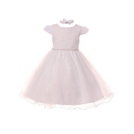 Rain Kids Little Girls White Satin Triple Tulle Overlay Baptism Dress