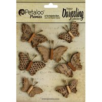 Petaloo Darjeeling Paper Wild Butterflies, 1.5-Inch and 1.75-Inch, Craft Brown, 7-Pack Multi-Colored