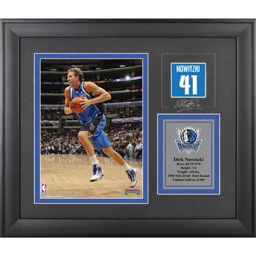 NBA - Dirk Nowitzki Dallas Mavericks Framed 6x8 Photograph with Facsimile Signature and Plate - Limited Edition of 500