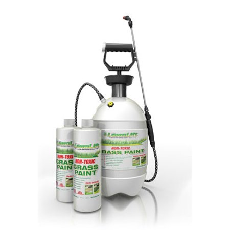 LawnLift Premium Kit. Includes 64 ounce concentrate and 2 gallon hand pump sprayer. Covers up to 2,000 sq. feet of yellowed