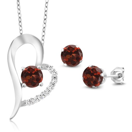 - 3.32 Ct Round Red Garnet 925 Sterling Silver Pendant Earrings Set