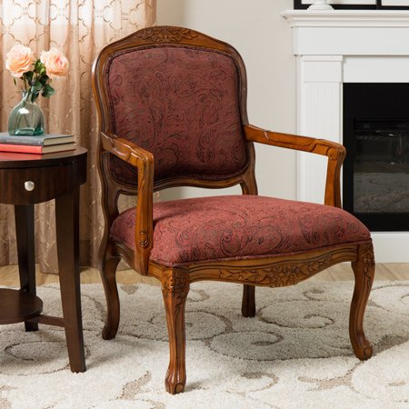 Classic Accent Curved Arm Paisley Wine Chair Walmart Com