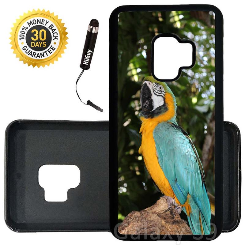 Custom Galaxy S9 Case (Cute Colorful Parrot) Edge-to-Edge Rubber Black Cover Ultra Slim | Lightweight | Includes Stylus Pen by Innosub