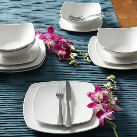 Gibson Home Everyday Square 12-Piece Dinnerware Set (Dinner Set 72 Pieces)