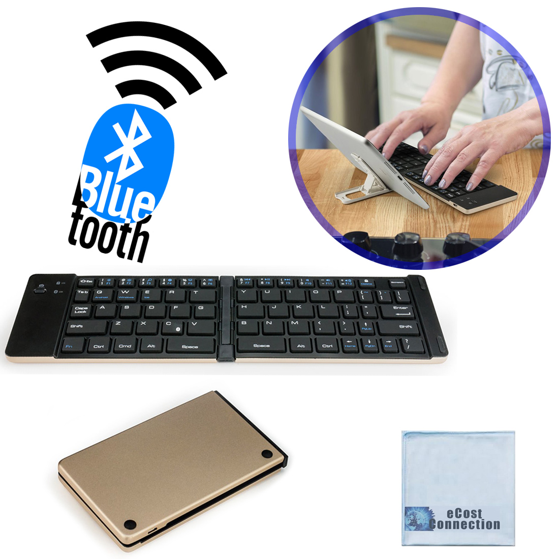 Foldable Bluetooth Keyboard for Computers, Laptops, Tablets, Smartphones, iPhones, Samsung, Android, iPads (Gold) + eCostConnection Microfiber Cloth