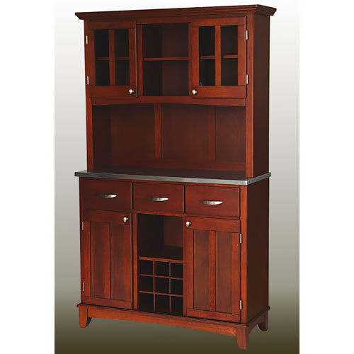 Home Styles Large Buffet with Two Glass Door Hutch, Cherry with Stainless Steel Top