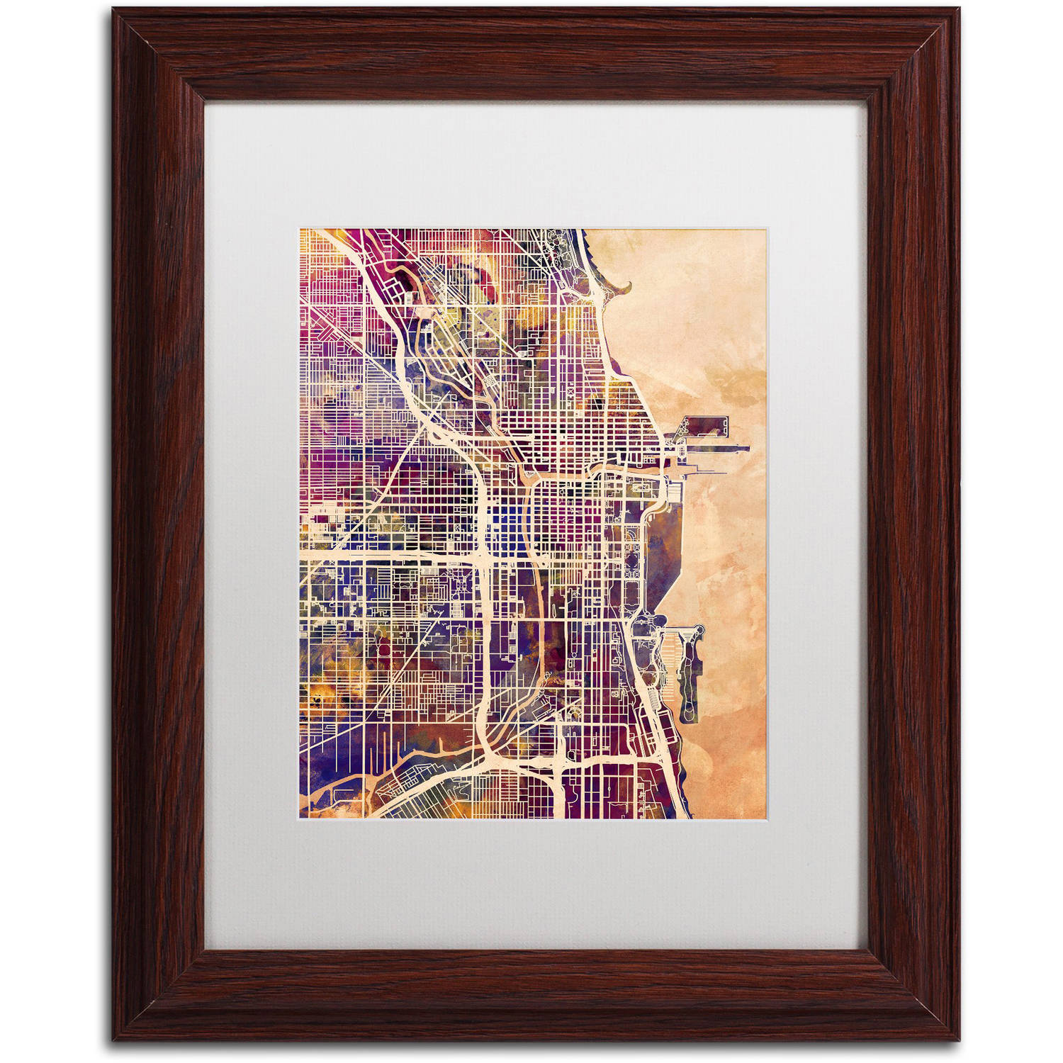 "Trademark Fine Art ""Chicago City Street Map"" Canvas Art by Michael Tompsett, White Matte, Wood Frame"