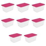 Sterilite 58 Qt. Storage Box Fuchsia Burst Case of 8