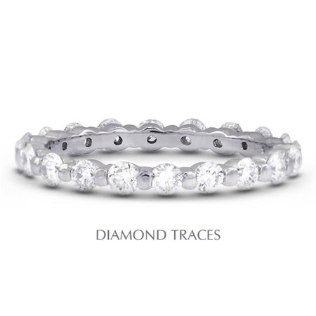 Diamond Traces UD-EWB102-6979 18K White Gold Bar Setting 1.20 Carat Total Natural Diamonds Classic Eternity Ring - image 1 de 1