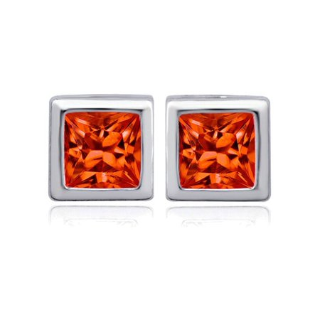 8mm Square Cut Simulated Mexican Orange Fire Opal Earrings Studs in Sterling Silver