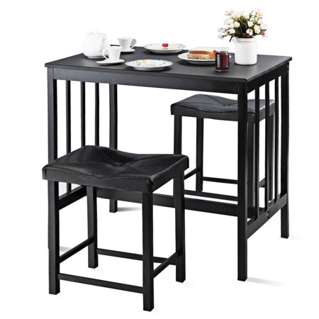 Bay Dining Table - Costway 3 PCS Modern Counter Height Dining Set Table And 2 Chairs Kitchen Bar Furniture