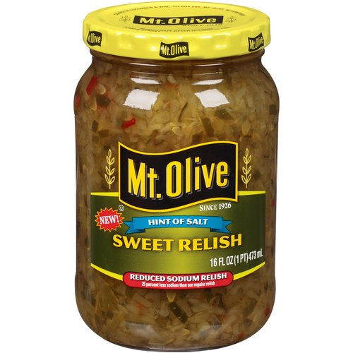 Mt. Olive Reduced Sodium Sweet Relish, 16 fl oz