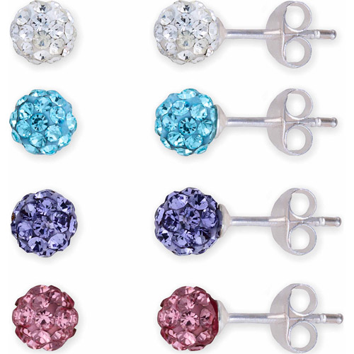 4.5mm Pave Crystal Sterling Silver Ball Stud 4-Piece Earrings Set
