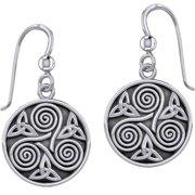 Ladies 1/2in 925 Sterling Silver Irish Celtic Triskele Triple Spiral & Trinity Knot Dangle Earrings